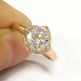 Round Moissanite Engagement Ring Pave Diamond Floral Halo 14K Rose Gold 6.5mm