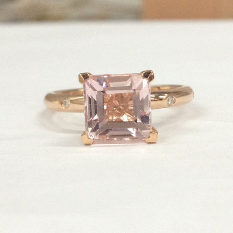 Reserved for Cookie Princess Morganite Engagement Ring Accent Moissanite