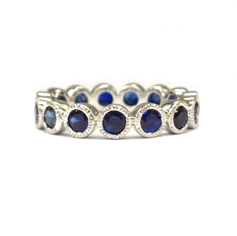 Blue Sapphire Wedding Band Eternity Anniversary Ring 14K White Gold 3mm