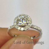 Cushion Moissanite Engagement Ring Pave Moissanite Wedding 14K White Gold 5x5mm - Lord of Gem Rings - 2