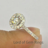 Cushion Moissanite Engagement Ring Pave Moissanite Wedding 14K White Gold 5x5mm - Lord of Gem Rings - 3