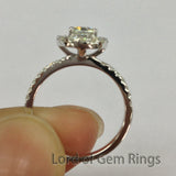 Cushion Moissanite Engagement Ring Pave Moissanite Wedding 14K White Gold 5x5mm - Lord of Gem Rings - 4