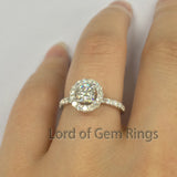 Cushion Moissanite Engagement Ring Pave Moissanite Wedding 14K White Gold 5x5mm - Lord of Gem Rings - 5