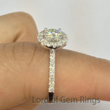 Cushion Moissanite Engagement Ring Pave Moissanite Wedding 14K White Gold 5x5mm - Lord of Gem Rings - 6