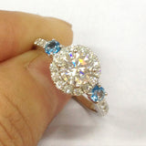 Round Moissanite London Blue Topaz Three Stone Ring 14K White Gold 6mm