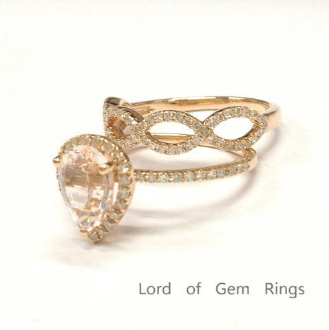 Pear Morganite Engagement Ring Sets Pave Diamond Wedding 14K Rose Gold 6x8mm - Lord of Gem Rings - 2