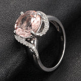 Round Morganite Engagement Ring Diamond Halo 14K White Gold 8mm - Lord of Gem Rings - 2