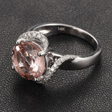 Round Morganite Engagement Ring Diamond Halo 14K White Gold 8mm - Lord of Gem Rings - 4
