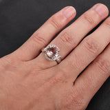Round Morganite Engagement Ring Diamond Halo 14K White Gold 8mm - Lord of Gem Rings - 5