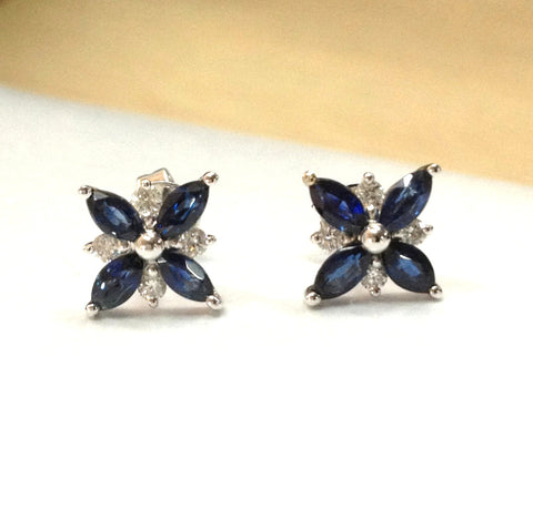 Marquise Sapphire Diamond Earrings 14K White Gold 2x4mm, Stud