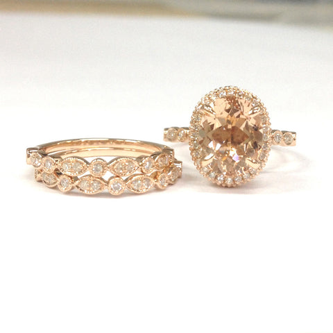 Oval Morganite Ring Trio Sets Art Deco Diamond bands 14K Rose Gold Milgrain Under Gallery 8x10mm