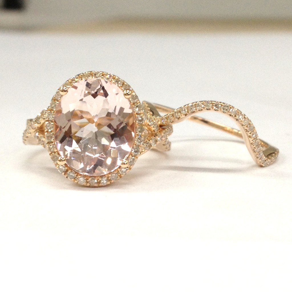 Oval Morganite Engagement Ring Bridal Sets Infinite Love Shank14K Rose Gold 10x12mm