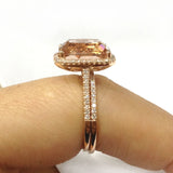 Cushion Morganite Engagement Ring Sets Pave Diamond 14K Rose Gold 10x12mm