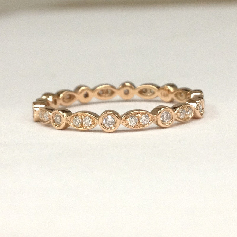 Reserved for Rosie Pave VS G Diamond Wedding Band Eternity Ring 18K Rose Gold