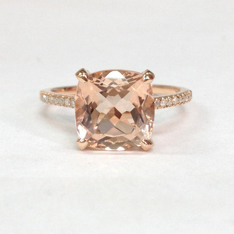 Cushion Morganite Engagement Ring Diamond Basket 14K Rose Gold 9mm