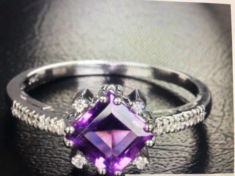 Reserved for ITU Princess Amethyst Ring 14K White Gold 6.5mm