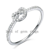 Pave Diamond Engagement Ring Wedding Band 14K White Gold Heart-Knot - Lord of Gem Rings - 1