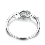 Pave Diamond Engagement Ring Wedding Band 14K White Gold Heart-Knot - Lord of Gem Rings - 4