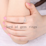 Pave Diamond Engagement Ring Wedding Band 14K White Gold Heart-Knot - Lord of Gem Rings - 5