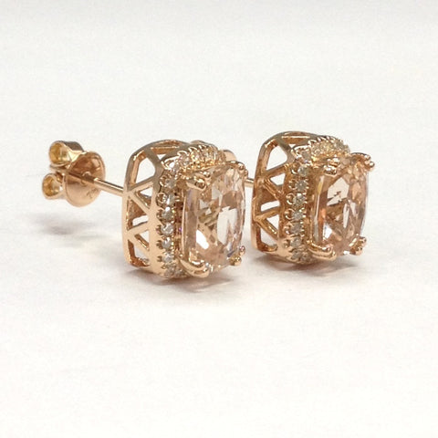 Reserved for manuekirchpfenni0;Cushion Morganite Stud Earrings Pave Diamond Halo 18K Rose Gold - Lord of Gem Rings - 1