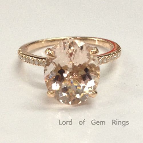 Ready to Ship - Oval Morganite Engagement Ring Pave Diamond Wedding 14K Rose Gold 9x11mm  Prong Set - Lord of Gem Rings - 1