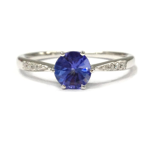 Round Tanzanite Engagement Ring Pave VS Diamond Wedding 14K White Gold 7mm - Lord of Gem Rings - 1