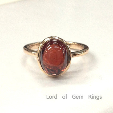 Oval Red Garnet Solitaire Engagement Ring 14K Rose Gold Bezel Set Wedding Band - Lord of Gem Rings - 1