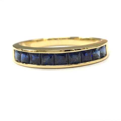 Princess Sapphire Wedding Band Half Eternity Anniversary Ring 18K Yellow Gold  Channel-Set - Lord of Gem Rings - 1