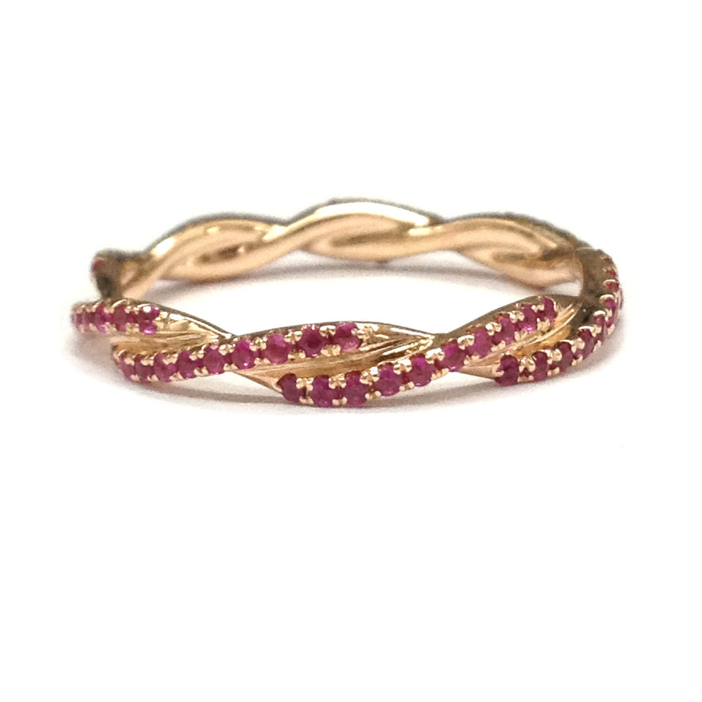 Ruby Wedding Band Eternity Anniversary Ring 14k Rose Gold Unique Curved Double Twist Lord Of: Ruby Wedding Anniversary Bands At Reisefeber.org
