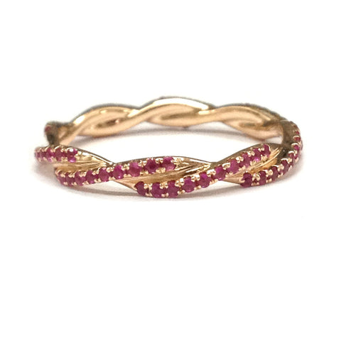 Ruby Wedding Band Eternity Anniversary Ring 14K Rose Gold Unique Curved Double twist - Lord of Gem Rings - 1