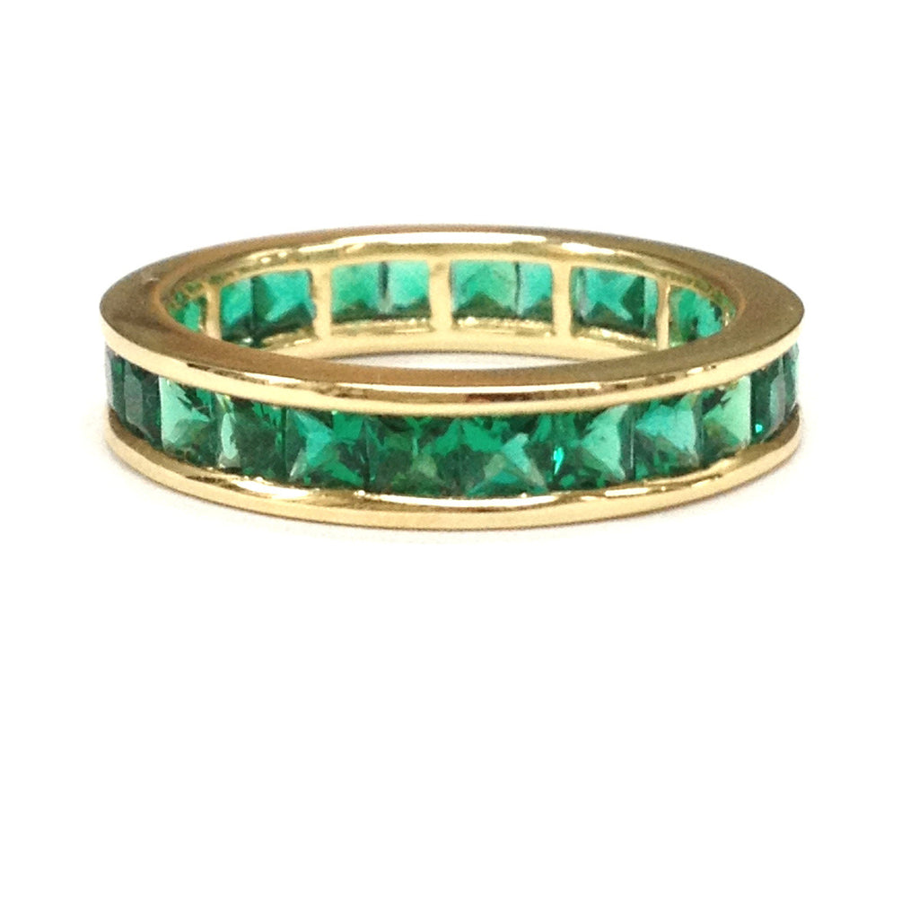Princess Emerald Wedding Band Eternity Anniversary Ring 14K Yellow Gold Channel Set - Lord of Gem Rings - 1