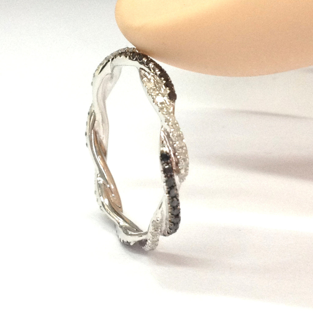 French Pave Clear/Black Diamond Wedding Band Eternity infinite love Ring 14K White Gold - Lord of Gem Rings - 2