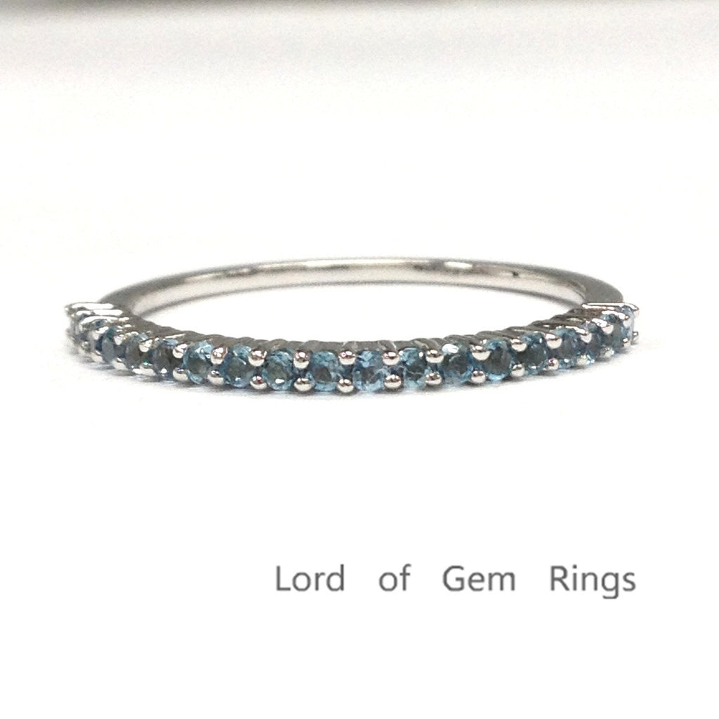 London Blue Topaz Wedding Band Half Eternity Anniversary Ring 14K White Gold,Thin Design - Lord of Gem Rings - 1