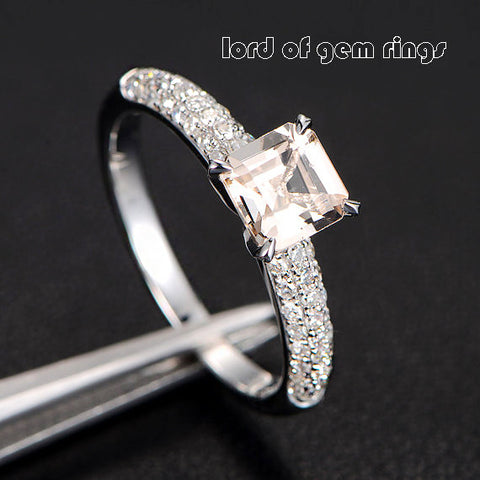 Asscher Morganite Engagement Ring Pave Diamond Wedding 14K White Gold - Lord of Gem Rings - 1