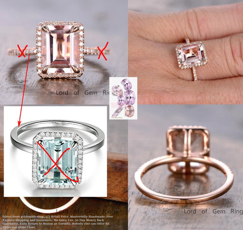 Reserved for GY Emerald Cut Morganite Engagement Ring Pave Diamond Wedding 14K Rose Gold 8x10mm