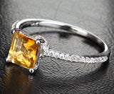 Princess Citrine Engagement Ring Pave Diamond Wedding 14K White Gold 6x6mm - Lord of Gem Rings - 2