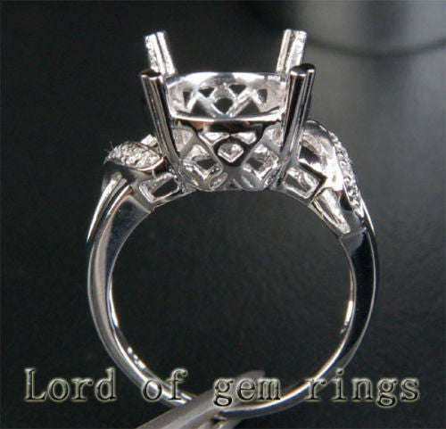 Diamond Engagement Semi Mount Ring 14K White Gold Setting Oval 11x13mm - Lord of Gem Rings - 1
