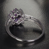 Princess Amethyst Engagement Ring Pave Diamond Wedding 14K White Gold 6.5mm - Lord of Gem Rings - 6