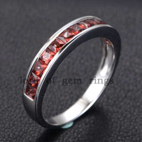 Princess Red Garnet Diamond Wedding Band Half Eternity Anniversary Ring 14K White Gold - Lord of Gem Rings - 1