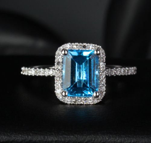 Emerald Cut Blue Topaz Engagement Ring Pave Diamond Wedding 14K White Gold 6x8mm - Lord of Gem Rings - 1