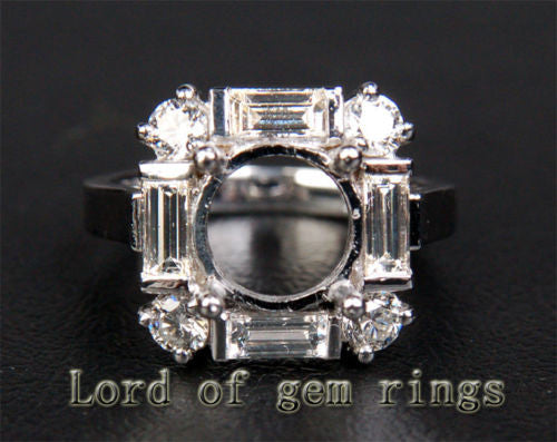 Unique 8mm Round Cut 1.3CT Diamonds 14K White Gold Semi Mount Engagement Ring 6# - Lord of Gem Rings - 1