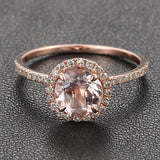Ready to Ship - Round Morganite Engagement Ring Pave Diamond Wedding 14K White Gold 7mm: 14KW-7RMorg - Lord of Gem Rings - 2