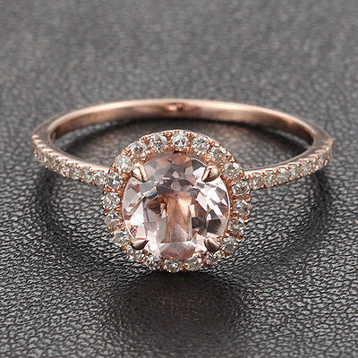 Round Morganite Engagement Ring Pave Diamond Wedding 14K Rose Gold 7mm - Lord of Gem Rings - 4