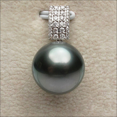 11mm Black Tahitian Pearls 14K White Gold .33CT Diamonds pendant For Necklace - Lord of Gem Rings - 1