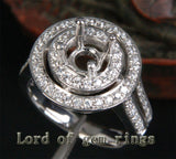 Diamond Engagement Semi Mount Ring 14K White Gold Setting Round 6.5mm - Lord of Gem Rings - 2