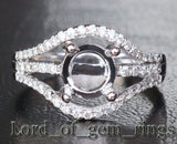 Diamond Engagement Semi Mount Ring 14K White Gold Setting Round 6.5mm VS/SI - Lord of Gem Rings - 1
