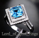 PRINCESS BLUE TOPAZ Engagemnt RING Pave DIAMOND Wedding 14K WHITE GOLD 7.5mm Double Halo - Lord of Gem Rings - 3
