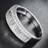 Baguette/Round DIAMOND WEDDING BAND ENGAGEMENT RING 14K WHITE GOLD 1.37ct - Lord of Gem Rings - 2
