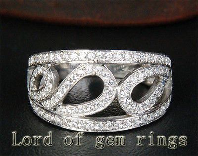 Unique Pave .82ctw Diamonds 14K White Gold Wedding Band Engagement Ring 3.99g ## - Lord of Gem Rings - 1