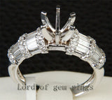 Diamond Engagement Semi Mount Ring 14K White Gold Setting Round 6.3-6.7mm Channel - Lord of Gem Rings - 3